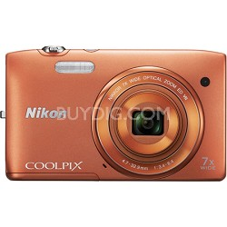 """COOLPIX S3500 20.1MP 2.7"""" LCD Orange Digital Camera with 720p HD Video"""