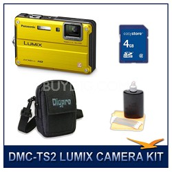 DMC-TS2Y LUMIX 14.1MP Digital Camera (Yellow), 4GB SD Card, and Camera Case