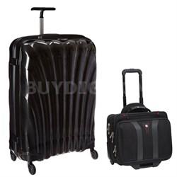 """28"""" Black Label Cosmolite Spinner (Black) + Wenger Laptop Boarding Bag"""