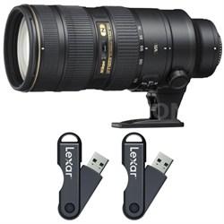 AF-S NIKKOR 70-200mm f/2.8G ED VR II Lens 64GB USB Flash Drive 2-Pack Bundle