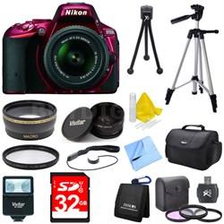 D5500 Red DSLR Camera 18-55mm Lens, Wide Lens, Converter, and Flash Bundle