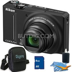 COOLPIX S9100 12MP Black Digital Camera 4GB Bundle