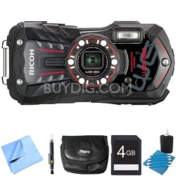 WG-30 16 MP Waterproof Digital Camera with 3-Inch LCD Ebony Black 4GB Bundle