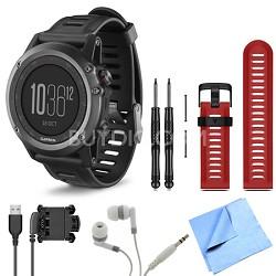 fenix 3 Multisport Training Gray GPS Watch Red Band Bundle