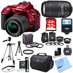 D5500 Red DSLR Camera 18-55mm Lens, 55-300 Lens, Lens Set, and Flash Bundle