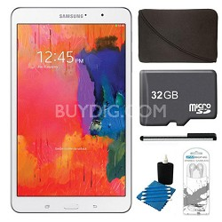 """Galaxy Tab Pro 8.4"""" White 16GB Tablet, 32GB Card, Headphones, and Case Bundle"""