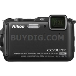 COOLPIX AW120 16MP 1080p Waterproof Black Digital Camera - REFURBISHED