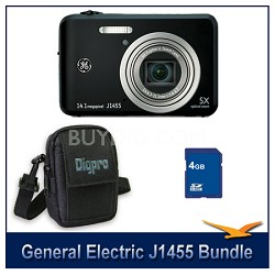 J1455 14MP Smart Series Black Digital Camera 4GB Memory Card and Case Bundle