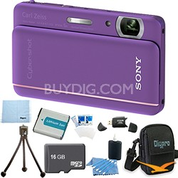 "Cyber-shot DSC-TX66 18.2 MP CMOS Camera 5X Zoom 3.3"" OLED Violet 16GB Memory Kit"