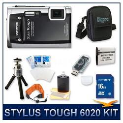 Stylus Tough 6020 Waterproof Shockproof Digital Camera (Black) w/ 16 GB Memory