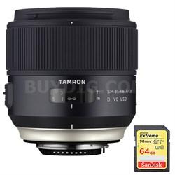SP 35mm f/1.8 Di VC USD Lens for Nikon Mount (AFF013N-700) w/ 64GB Memory Card