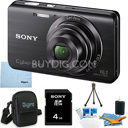 Cyber-shot DSC-W650 Black 4GB Digital Camera Bundle