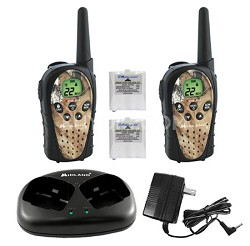 FRS/GMRS Mossy Oak 22 Channel 20 Mile batteries & charger (pair)