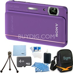 "Cyber-shot DSC-TX66 18.2 MP CMOS Camera 5X Zoom 3.3"" OLED Violet 4 GB Memory Kit"