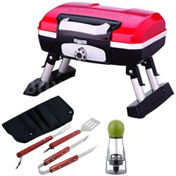 Gourmet Portable Tabletop Gas Grill Bundle with BBQ Tool Set Bundle CGG-180T