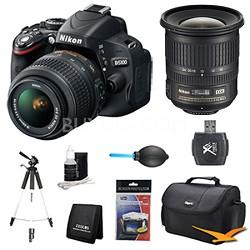 D5100 DX-format DSLR Body w/ 18-55mm VR Lens and 10-24mm Wide Angle Lens Bundle