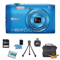 """COOLPIX S3600 20.1MP 2.7"""" LCD Digital Camera with 720p HD Video Blue Kit"""