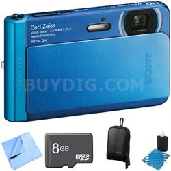 DSC-TX30/L Blue 18.2MP Water, Dust, Freeze, Shockproof Digital Camera 8GB Bundle