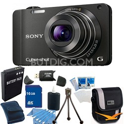 Cyber-shot DSC-WX10 Black Digital Camera 16GB Bundle
