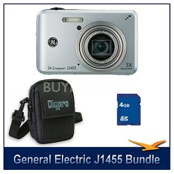 J1455 14MP Smart Series Silver Digital Camera 4GB Memory Card and Case Bundle