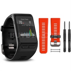 vivoactive HR GPS Smartwatch - Regular Fit (Black) Lava Red Band Bundle