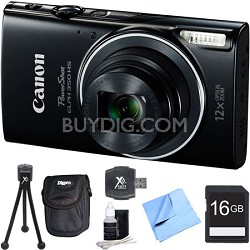 Powershot ELPH 350 HS Black Digital Camera and 16GB Card Bundle