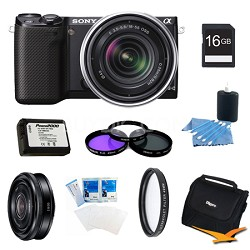 NEX-5RK/B Compact Camera with 18-55 Lens 16GB 20mm f 2.8 Lens Bundle