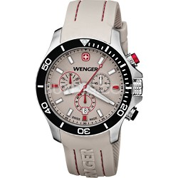 Men's Sea Force Chrono Watch - White and Red Dial/White Silicone Strap