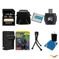 32GB SDHC/SDXC Card, Case, Battery, Card Reader, Battery Charger, and More