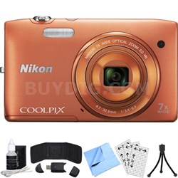 COOLPIX S3500 20.1MP Digital Camera w/ 720p HD Video (Orange) Refurbished Bundle