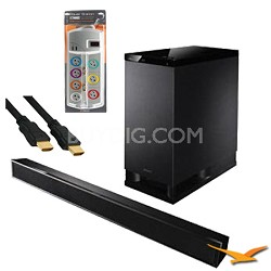 HTCT150 Virtual 5.1 Channel Sound Bar - Black - with HookUp Bundle