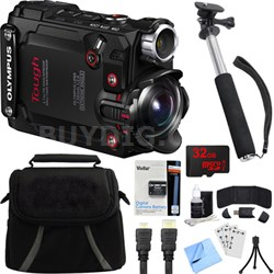 Stylus TG-Tracker Waterproof Shockproof 4K Action Cam Black Accessory Bundle