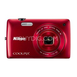 "COOLPIX S4300 16MP 3"" Touchscreen Red Digital Camera"