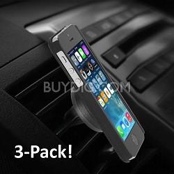 Universal Car Air-Vent Magnet Clip Holder for Smartphones - 3 Pack