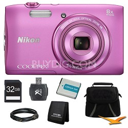 """COOLPIX S3600 20.1MP 2.7"""" LCD 720p HD Video Digital Camera Pink Ultimate Kit"""
