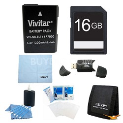 16GB Card and EN-EL14 Value Battery Kit for the Nikon p7000, p7100, d3200, d5200