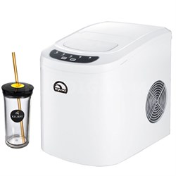 Compact Ice Maker White with Keurig Iced Beverage Tumbler