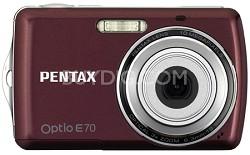 """Optio E70 10MP 2.4"""" LCD Digital Camera (Wine Red)"""