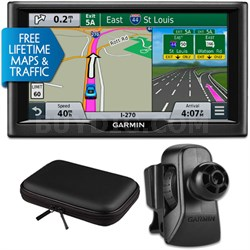 "nuvi 67LMT 6"" Essential Series 2015 GPS w Maps/Traffic Vent Mount & Case Bundle"