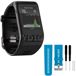 vivoactive HR GPS Smartwatch  XL Fit - Black w/ Silicone Band Strap + Tools Blue