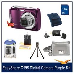 EasyShare C195 Digital Camera Purple 16GB Bundle w/ Case, Reader Battery & More