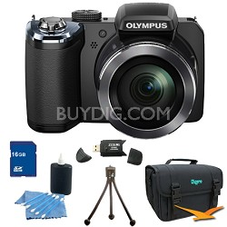 SP-820UZ 14 Megapixel 40x Zoom Digital Camera Black 16GB Bundle