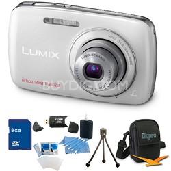 Lumix DMC-S3 14MP Compact White Digital Camera w/ 720p HD Video 8GB Bundle