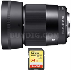 30mm F1.4 DC DN Lens for Sony E Mount Bundle with 64GB SDXC Memory Card