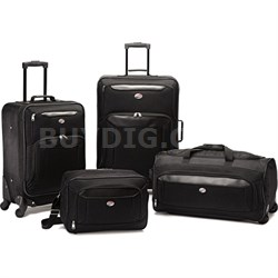 "Brookfield Black 4 Pc Luggage Set (21"" & 25"" Spinners, Boarding, Wheeled Duffle)"