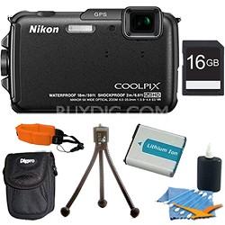 COOLPIX AW110 16MP Water/Shock/Freezeproof Black Digital Camera Plus 16GB Kit