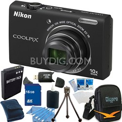 COOLPIX S6200 Black 10x Zoom 16MP Camera 16GB Bundle