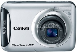 PowerShot A495 10 Mega Pixel with 3.3x Optical Zoom Digital Camera (Silver)