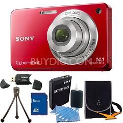 Cyber-shot DSC-W560 Red Digital Camera 8GB Bundle