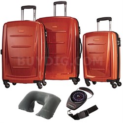 Winfield 2 Fashion Hardside 3 Pcs Spinner Set Orange with Travel Kit